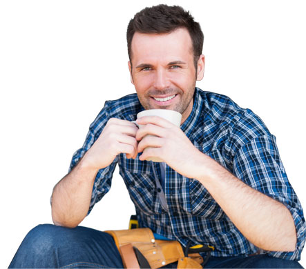 relaxed tradie with cup of coffee